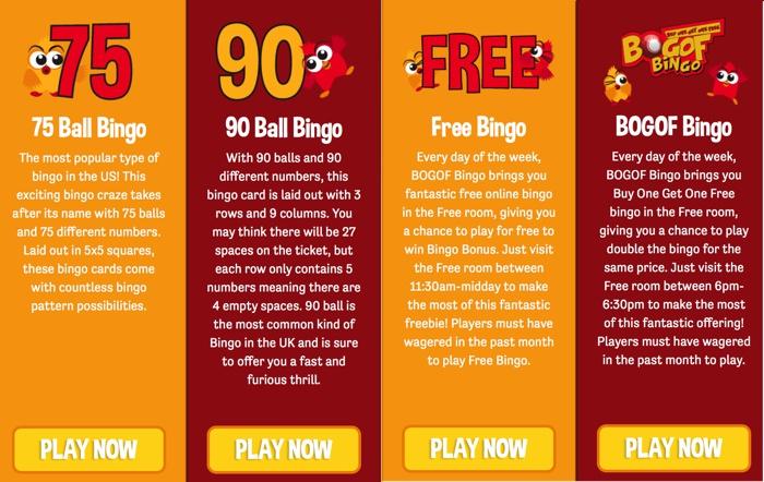 Bingo Games at BOGOF Bingo