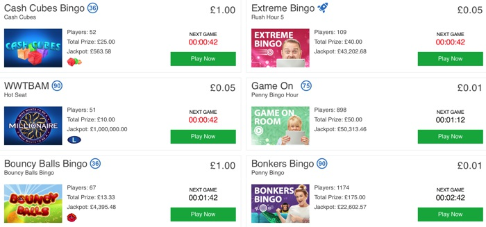 Bingo Games at Betfred Bingo