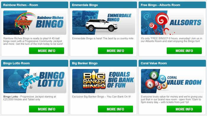 Bingo Games at Coral Bingo